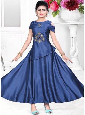 Elegant Blue Color Designer Gown With Handwork