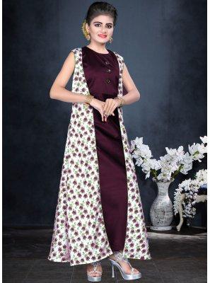 Elegant Maroon Color Designer Gown For Kids