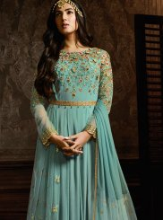 Embroidered Aqua Blue Anarkali Suit
