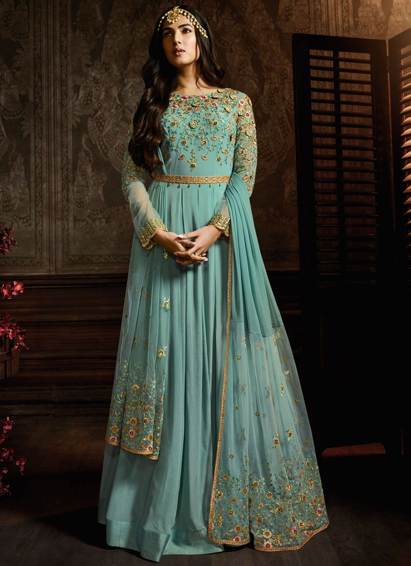 Embroidered Aqua Blue Anarkali Suit
