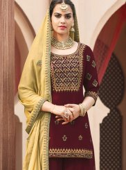 Embroidered Aqua Blue and Maroon Designer Pakistani Suit