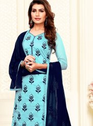 Embroidered Aqua Blue Churidar Salwar Kameez