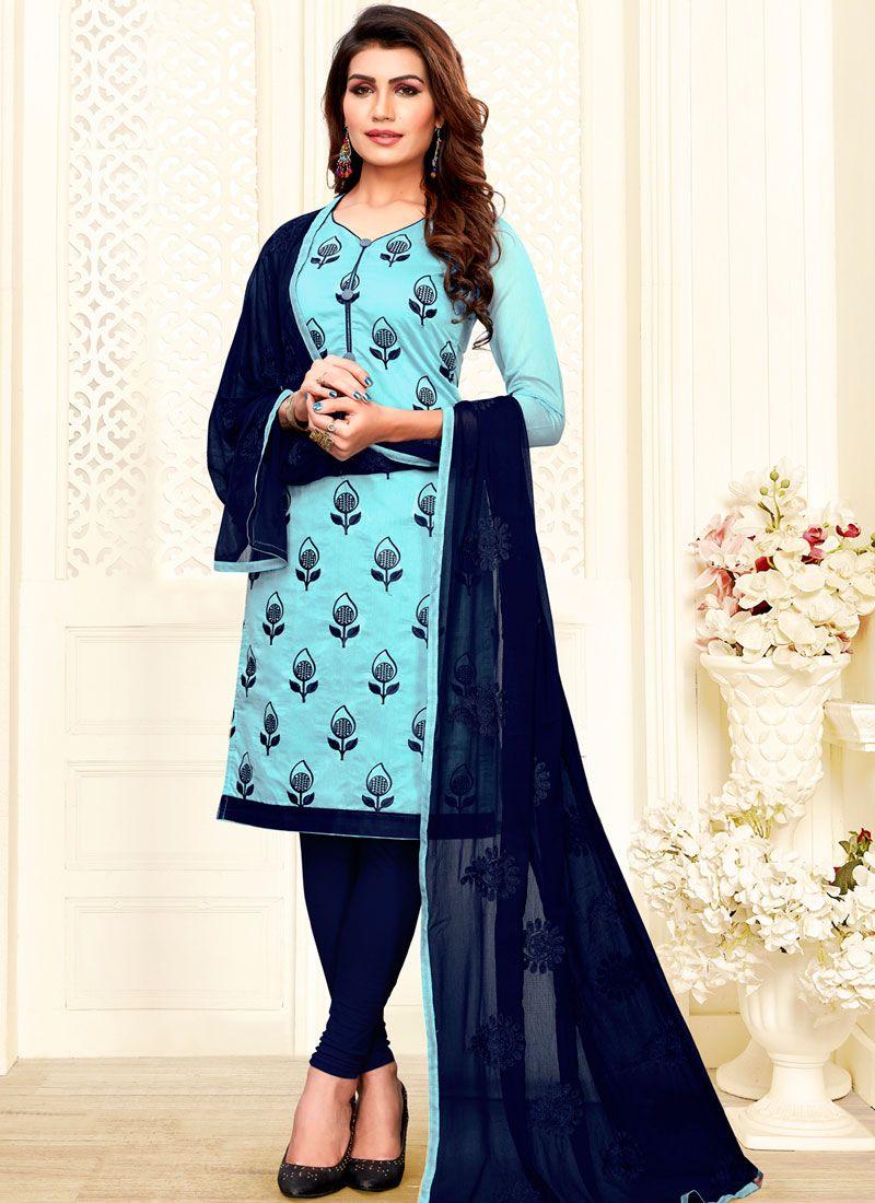 Embroidered Aqua Blue Churidar Salwar Kameez