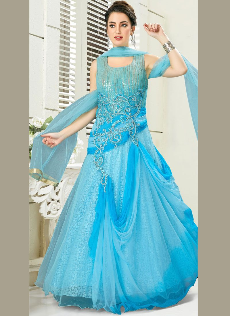 Embroidered Aqua Blue Net Anarkali Salwar Kameez