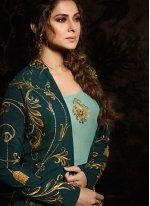 Embroidered Aqua Blue Silk Desinger Anarkali Salwar Suit