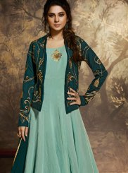 Embroidered Aqua Blue Silk Desinger Anarkali Salwar Suit