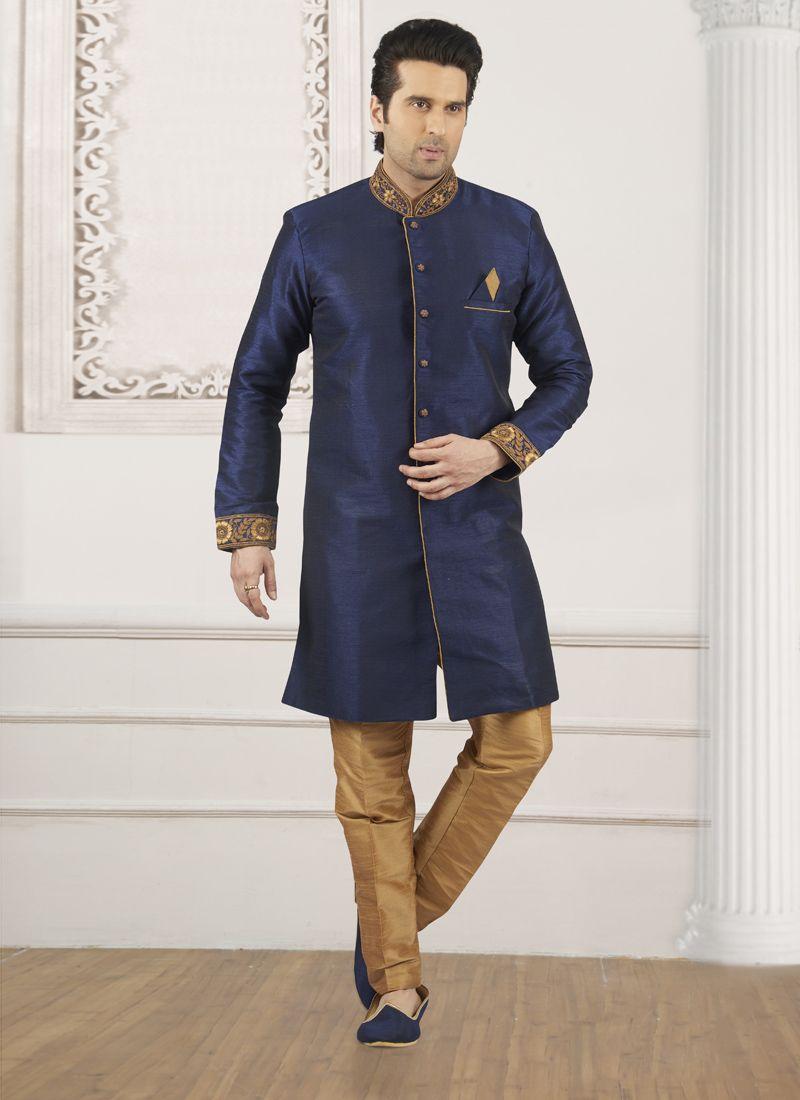 Embroidered Art Banarasi Silk Indo Western in Blue