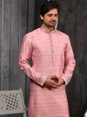 Embroidered Art Banarasi Silk Indo Western in Pink
