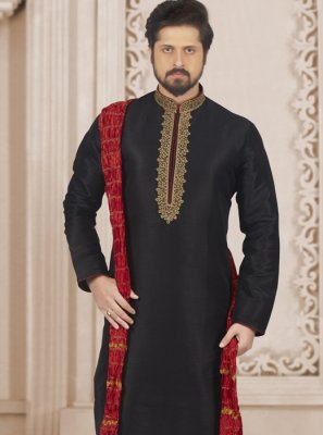 Embroidered Art Banarasi Silk Kurta Pyjama in Black