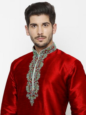 Embroidered Art Dupion Silk Kurta in Maroon
