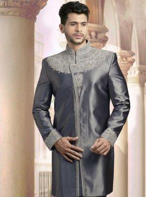 Embroidered Art Dupion Silk Sherwani in Grey