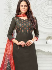 Embroidered Art Silk Black Salwar Suit