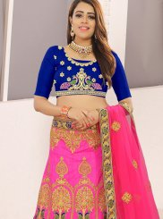 Embroidered Art Silk Blue and Pink Designer Lehenga Choli