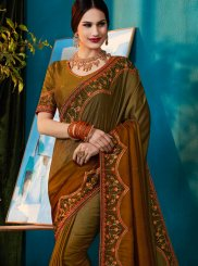 Embroidered Art Silk Brown and Green Shaded Saree