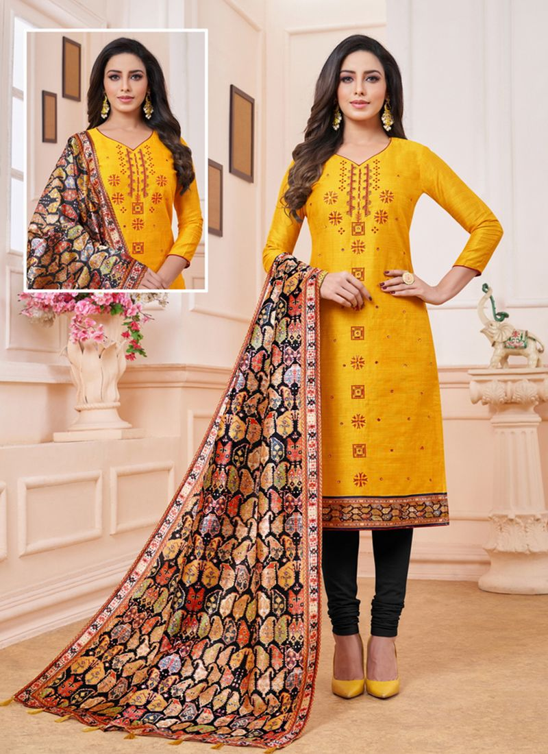 Embroidered Art Silk Churidar Suit in Yellow