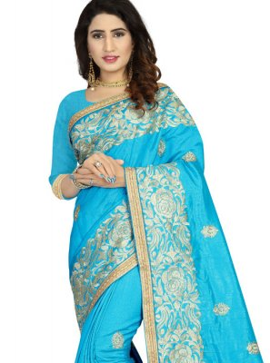 Embroidered Art Silk Classic Designer Saree in Aqua Blue