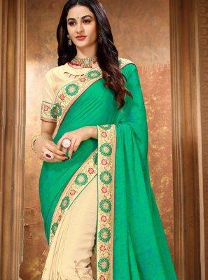Embroidered Art Silk Classic Designer Saree in Cream and Green