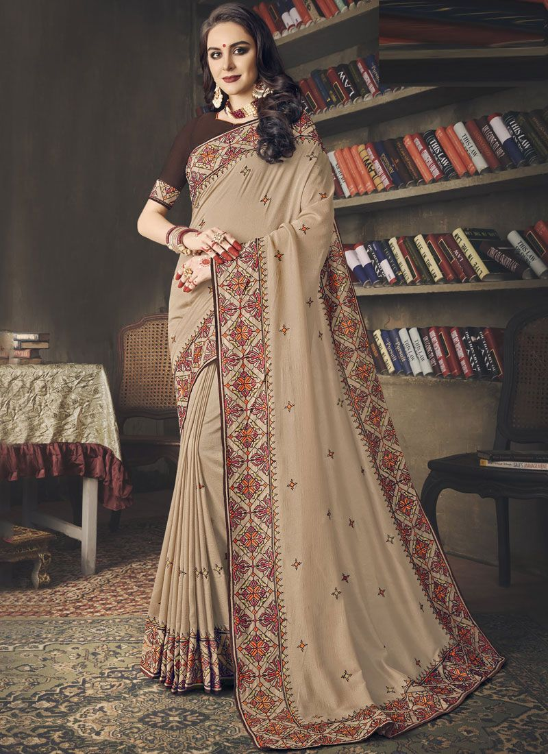 Embroidered Art Silk Classic Saree