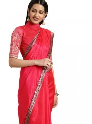 Embroidered Art Silk Classic Saree in Pink