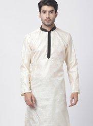 Embroidered Art Silk Cotton Kurta Pyjama in Cream