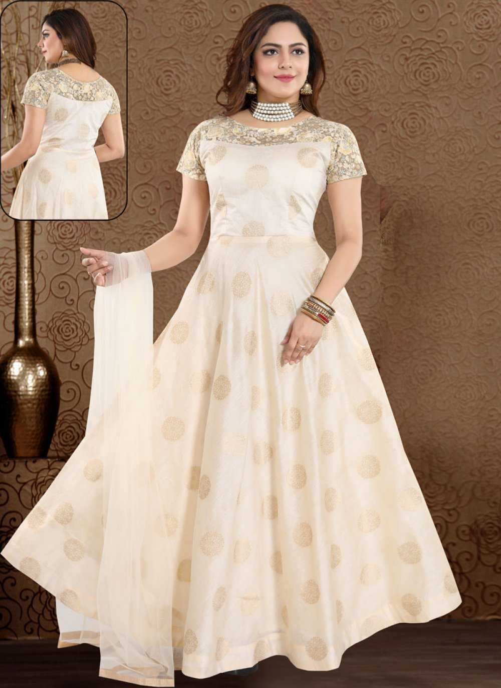 Embroidered Art Silk Cream Readymade Suit