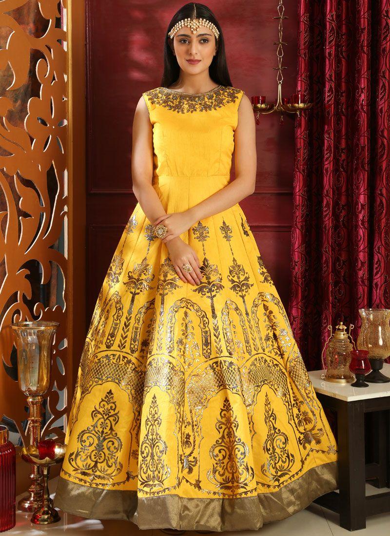 Embroidered Art Silk Designer Gown