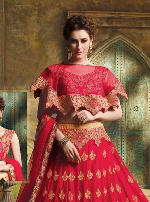 Embroidered Art Silk Designer Lehenga Choli in Red