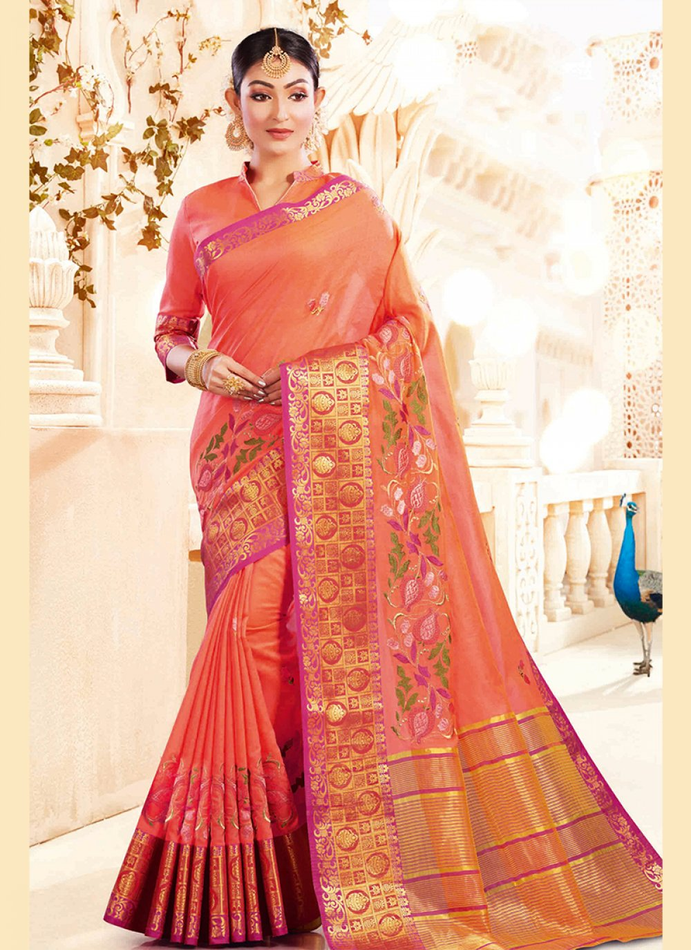 Embroidered Art Silk Designer Traditional Saree