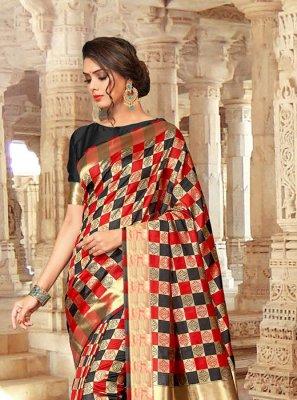 Embroidered Art Silk Designer Traditional Saree in Black