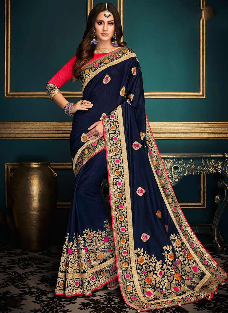 Embroidered Art Silk Designer Traditional Saree in Blue