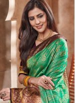 Embroidered Art Silk Designer Traditional Saree in Green