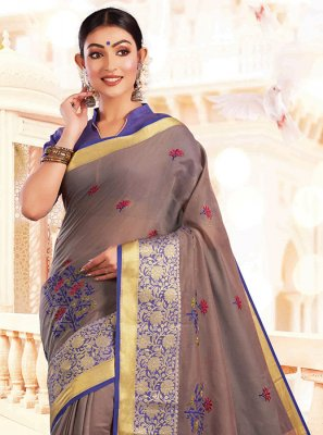 Embroidered Art Silk Designer Traditional Saree in Grey