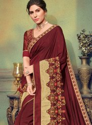 Embroidered Art Silk Designer Traditional Saree in Maroon