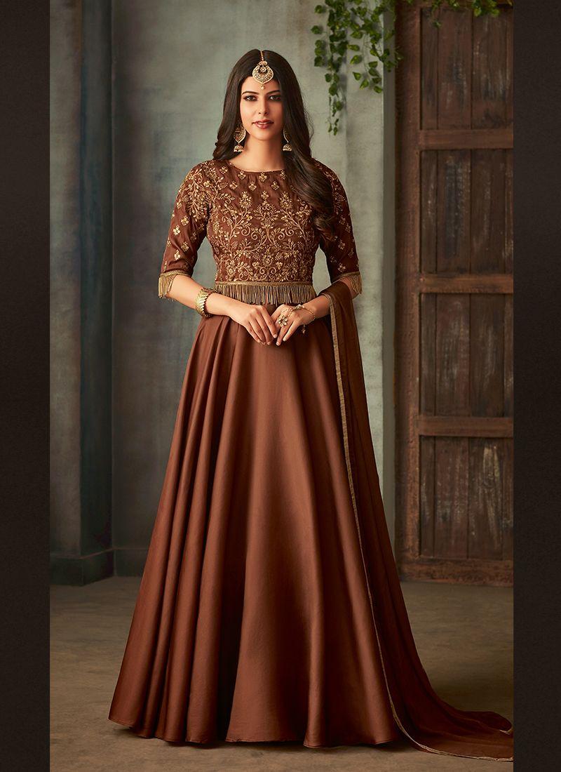 Embroidered Art Silk Floor Length Anarkali Suit