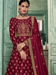 Embroidered Art Silk Floor Length Anarkali Suit in Magenta