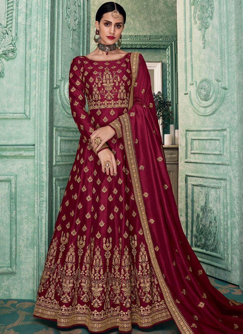 Embroidered Art Silk Floor Length Anarkali Suit in Magenta