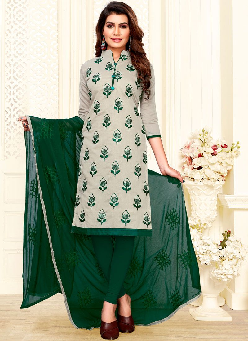 Embroidered Art Silk Green and Grey Churidar Suit