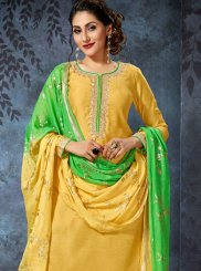 Embroidered Art Silk Green and Yellow Readymade Suit