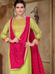 Embroidered Art Silk Green Churidar Salwar Suit