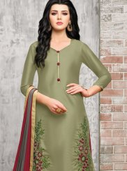 Embroidered Art Silk Green Designer Palazzo Suit