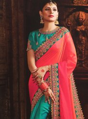 Embroidered Art Silk Hot Pink and Teal Half N Half Designer Saree