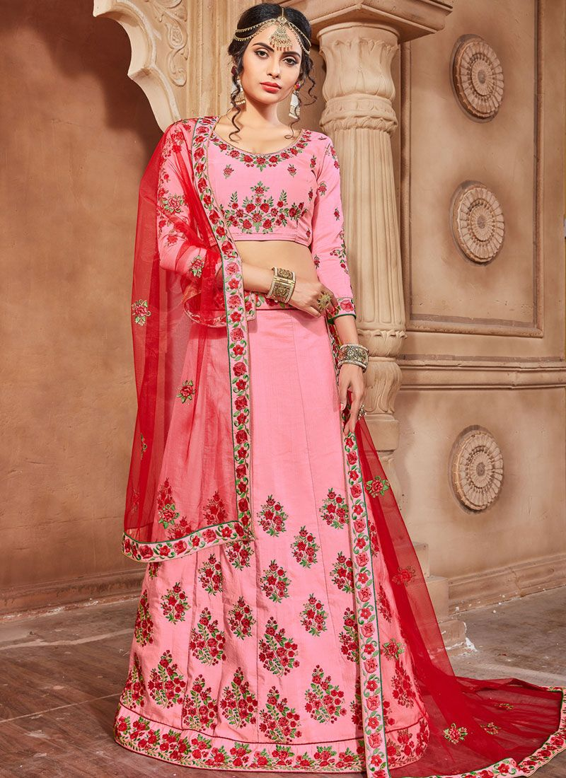 Embroidered Art Silk Lehenga Choli in Pink