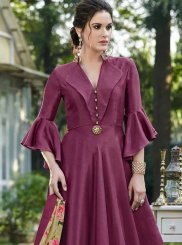 Embroidered Art Silk Magenta Designer Gown