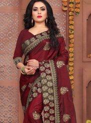 Embroidered Art Silk Maroon Designer Traditional Saree