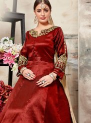 Embroidered Art Silk Maroon Floor Length Anarkali Suit