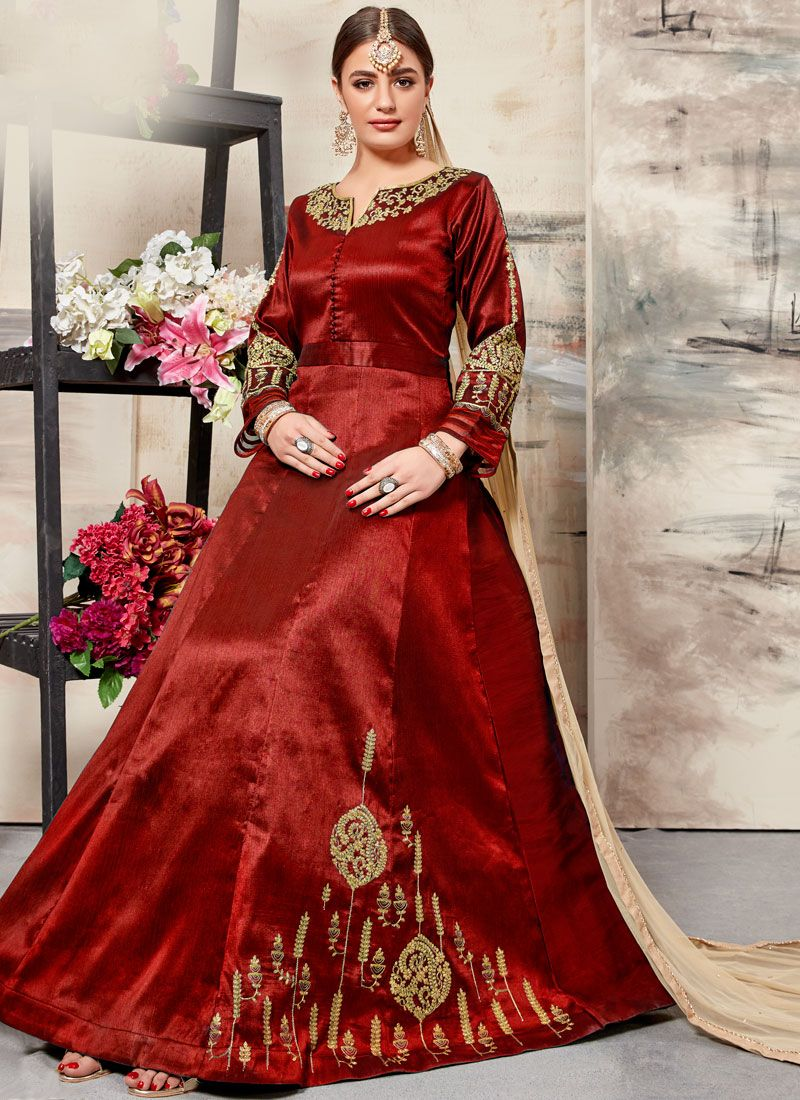 Embroidered Art Silk Maroon Floor Length Anarkali Suit