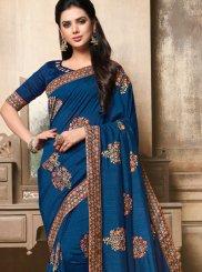 Embroidered Art Silk Navy Blue Designer Traditional Saree