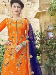 Embroidered Art Silk Orange Trendy Lehenga Choli