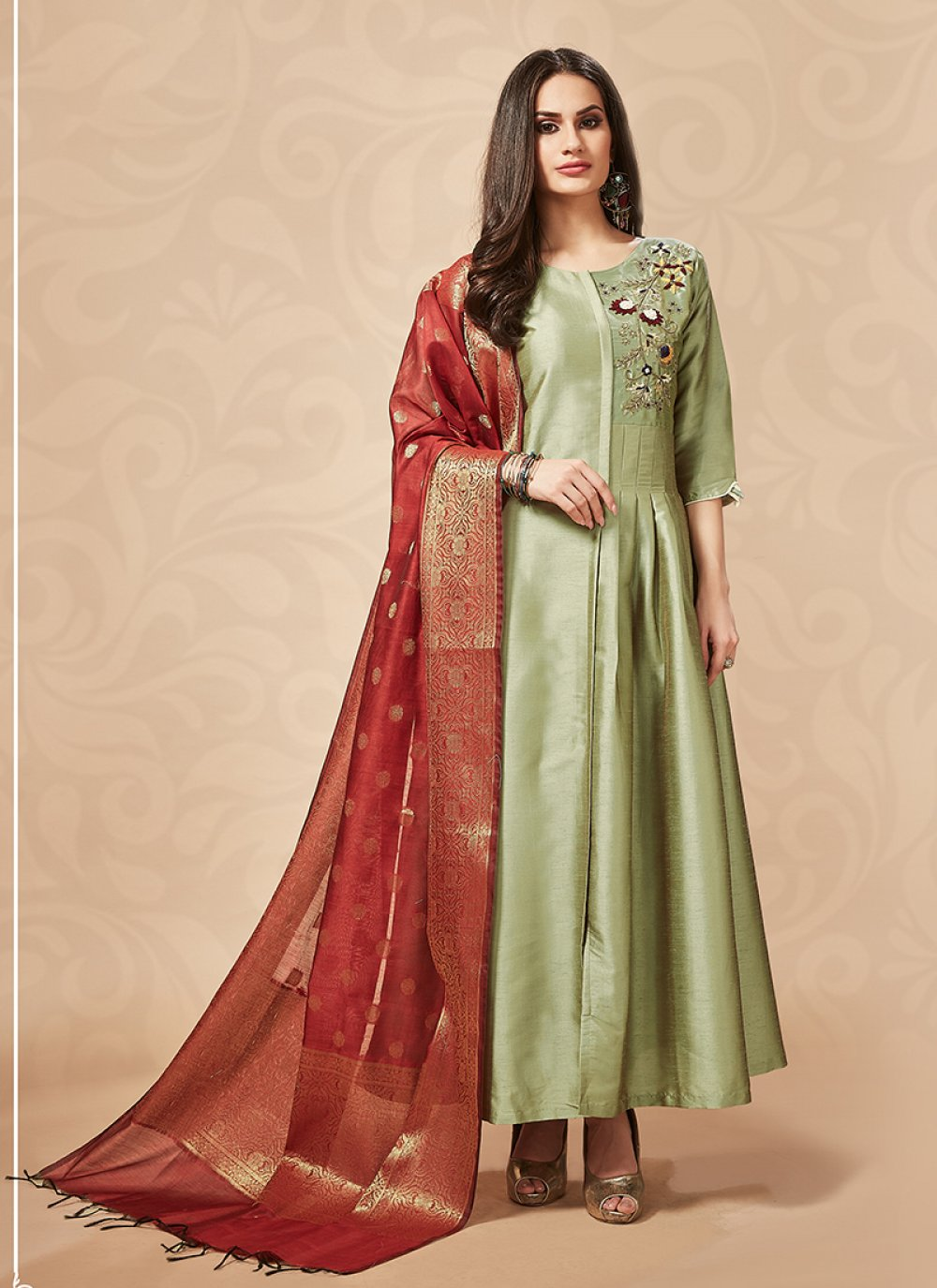 Embroidered Art Silk Party Wear Kurti in Green