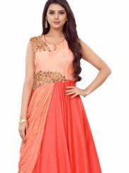 Embroidered Art Silk Peach and Red Readymade Gown